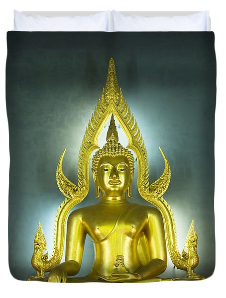 Golden Sitting Buddha Duvet Cover by Gloria and Richard Maschmeyer