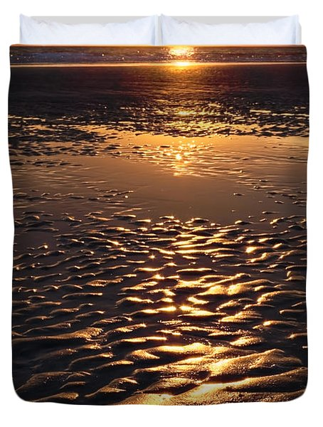 Golden Sunset On The Sand Beach Duvet Cover by Setsiri Silapasuwanchai