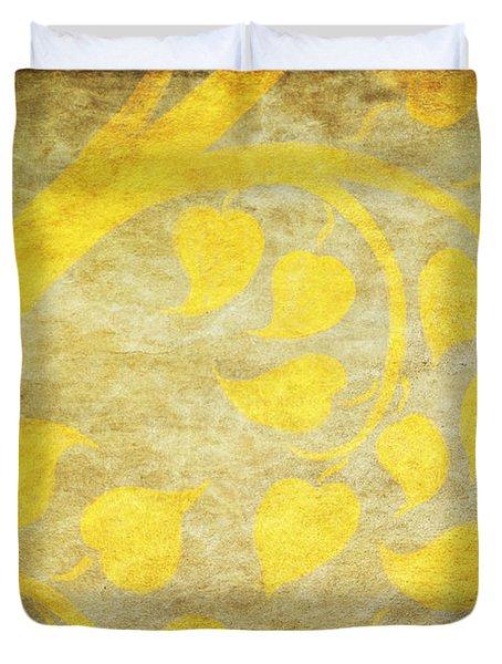 Golden Tree Pattern On Paper Duvet Cover by Setsiri Silapasuwanchai
