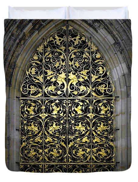 Golden Window - St Vitus Cathedral Prague Duvet Cover by Christine Till