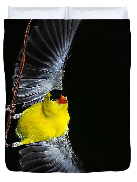 Duvet Cover featuring the photograph Goldfinch High Wire Act by Randall Branham