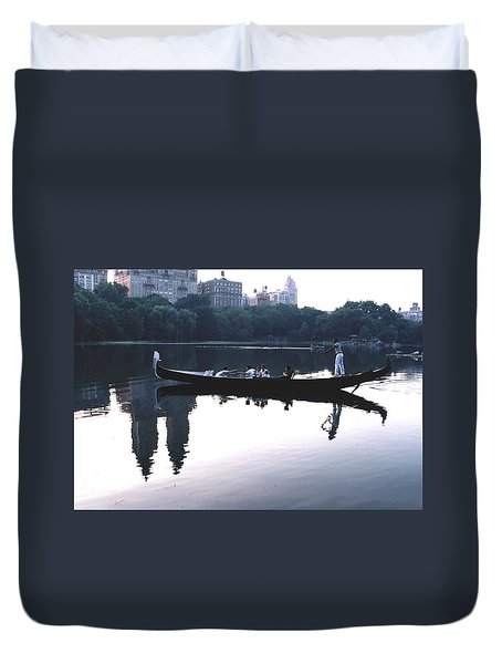 Duvet Cover featuring the photograph Gondola On The Central Park Lake by Tom Wurl