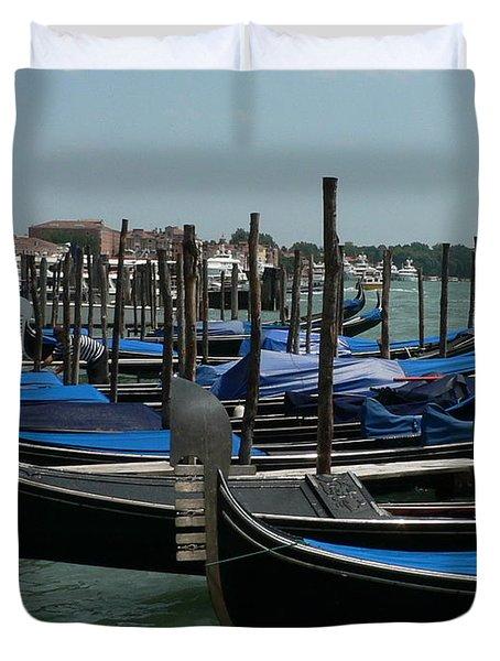 Duvet Cover featuring the photograph Gondolas by Laurel Best