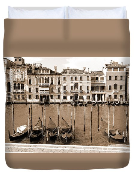 Duvet Cover featuring the photograph Gondolas Outside Salute by Donna Corless