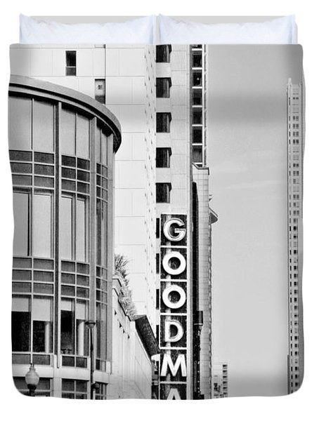 Goodman Theatre Center Chicago Duvet Cover by Christine Till