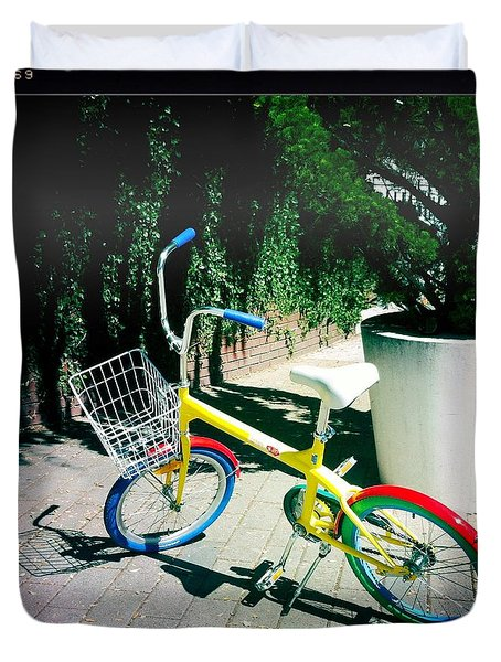Duvet Cover featuring the photograph Google Mini Bike by Nina Prommer