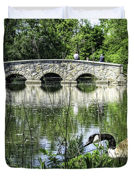 Duvet Cover featuring the photograph Goose And Bridge At Silver Lake by Tom Gort