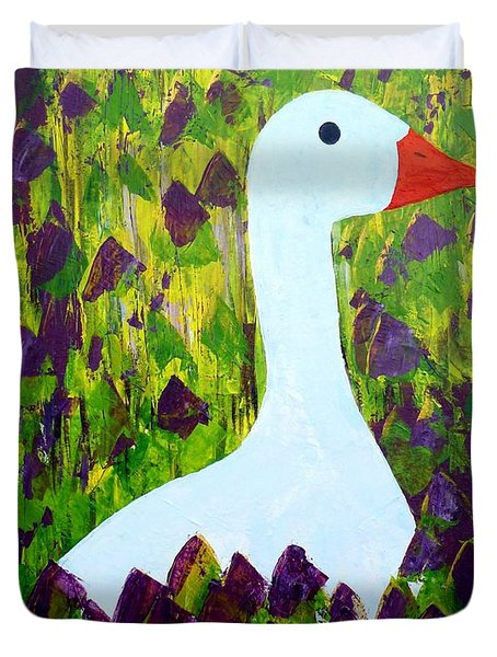 Duvet Cover featuring the painting Goose by Barbara Moignard