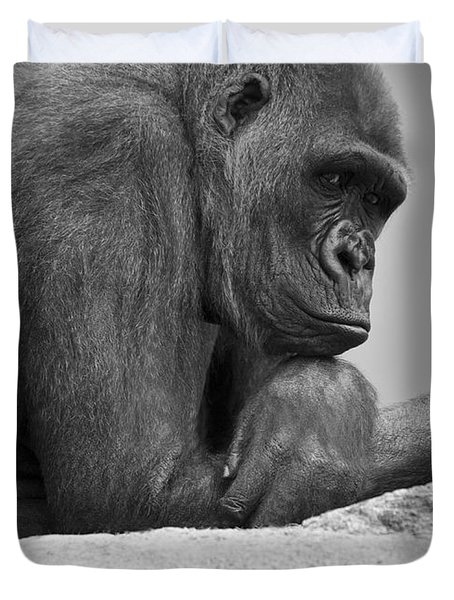 Gorilla Portrait Duvet Cover by Darren Greenwood