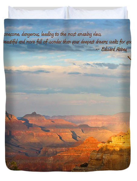 Grand Canyon Splendor - With Quote Duvet Cover