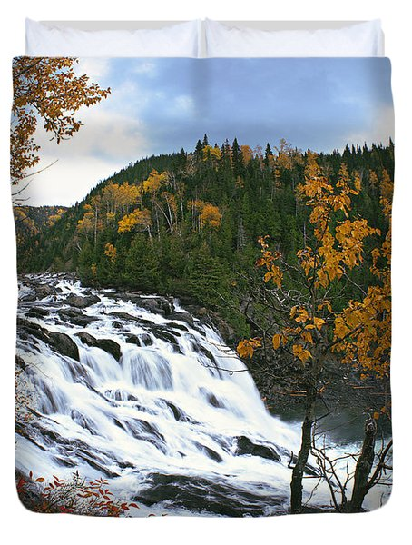 Grand-sault Falls On Madeleine River Duvet Cover by Yves Marcoux