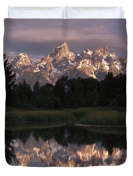 Grand Teton Range And Cloudy Sky Duvet Cover by Tim Fitzharris