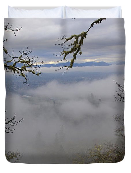 Grants Pass In The Fog Duvet Cover by Mick Anderson
