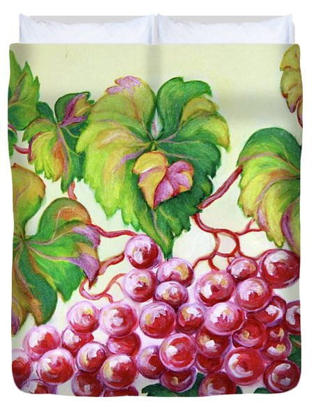 Duvet Cover featuring the painting Grape Study 2 by Inese Poga