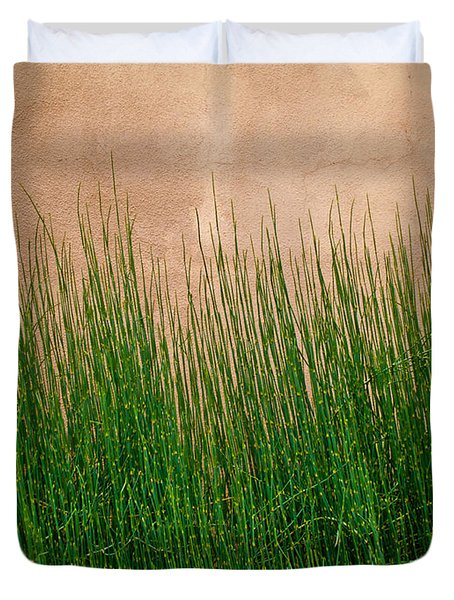 Duvet Cover featuring the photograph Grass And Stucco by David Pantuso