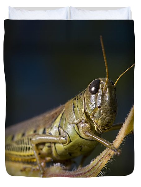 Duvet Cover featuring the photograph Grasshopper by Art Whitton