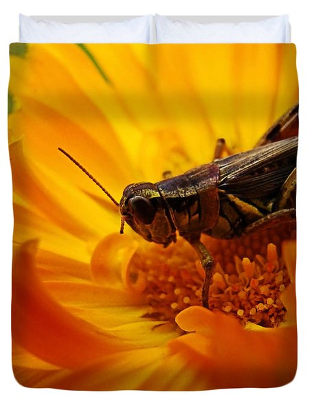 Grasshopper Luncheon Duvet Cover
