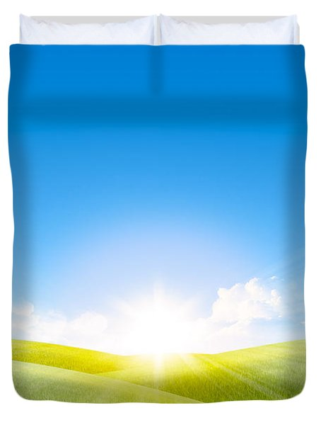Grassland In The Sunny Day With Rainbow Duvet Cover by Setsiri Silapasuwanchai