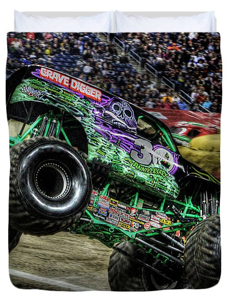 Grave Digger At Ford Field Detroit Mi Duvet Cover by Nicholas  Grunas