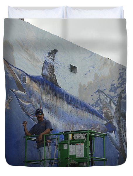 Gray Taxidermy Mural Duvet Cover