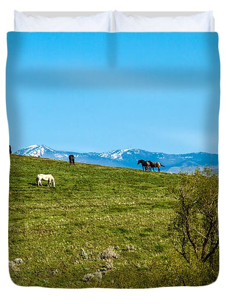 Grazing Horses Duvet Cover by Robert Bales