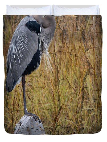 Great Blue Heron On Spool Duvet Cover by Debra and Dave Vanderlaan