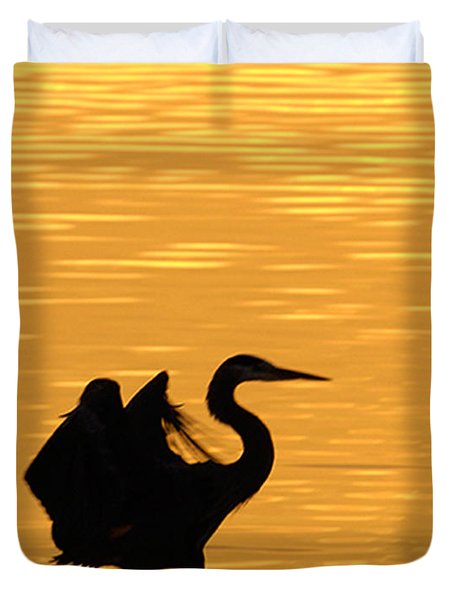 Duvet Cover featuring the photograph Great Blue Heron by Randall Branham
