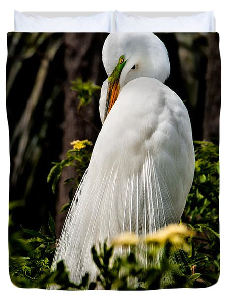 Great Egret Duvet Cover by Christopher Holmes