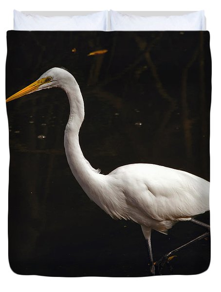 Great Egret Hunting Duvet Cover