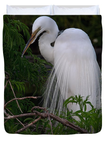 Great Egret Nesting Duvet Cover