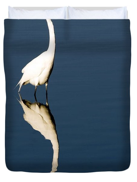 Great Egret Reflected Duvet Cover by Sally Weigand