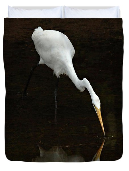 Great Egret Reflection Duvet Cover by Bob Christopher
