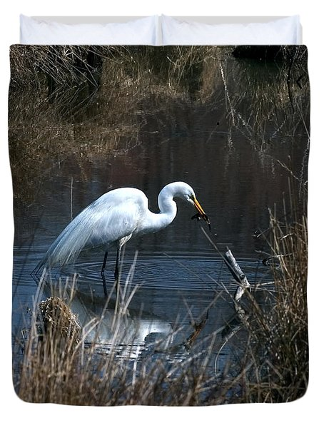 Great Egret With Fish Dmsb0034 Duvet Cover by Gerry Gantt