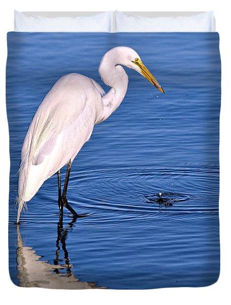 Great Egret With Shrimp Duvet Cover