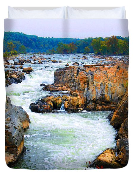 Great Falls On The Potomac River In Virginia Duvet Cover by Eva Kaufman