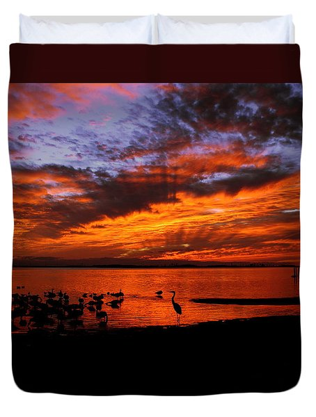 Great Heron Sunset Duvet Cover