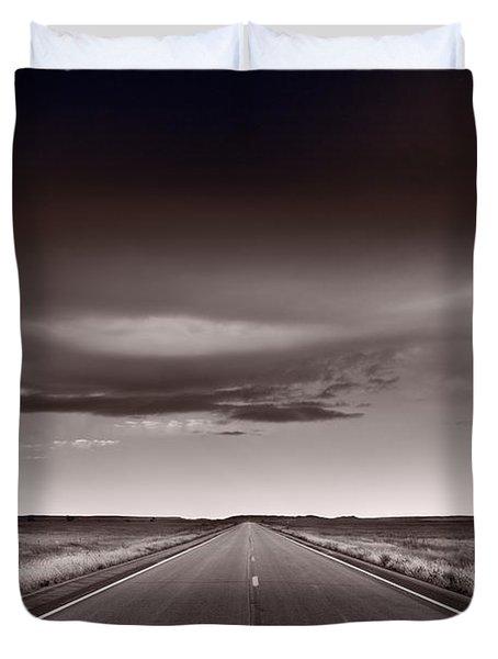 Great Plains Road Trip Bw Duvet Cover