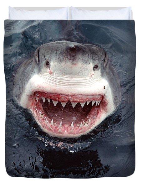 Great White Shark Smile Australia Duvet Cover by Mike Parry
