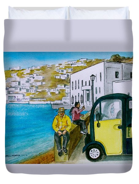 Greek Island Of Mykonis Duvet Cover by Frank Hunter