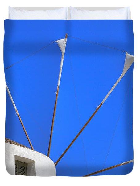 Greek Windmill Duvet Cover
