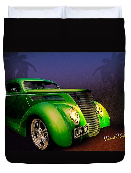 Green 37 Ford Hot Rod Decked Out For A Tropical Saint Patrick Day In South Texas Duvet Cover by Chas Sinklier