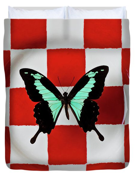 Green And Black Butterfly On Red Checker Plate Duvet Cover