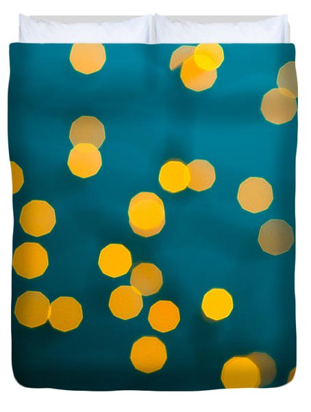 Green Background With Gold Dots  Duvet Cover by Ulrich Schade