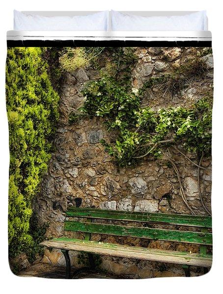 Green Bench Duvet Cover by Mauro Celotti