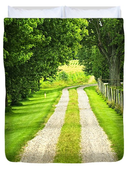 Green Farm Road Duvet Cover by Elena Elisseeva