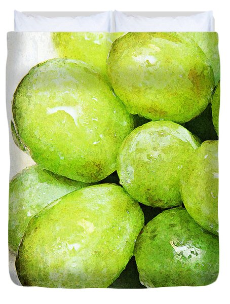 Green Grapes On A Plate Duvet Cover by Andee Design