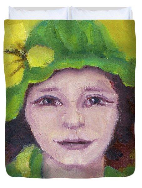 Green Hat Face Duvet Cover by Rachel Hershkovitz