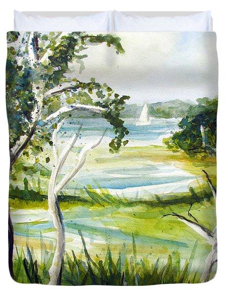 Green Land Duvet Cover by Clara Sue Beym