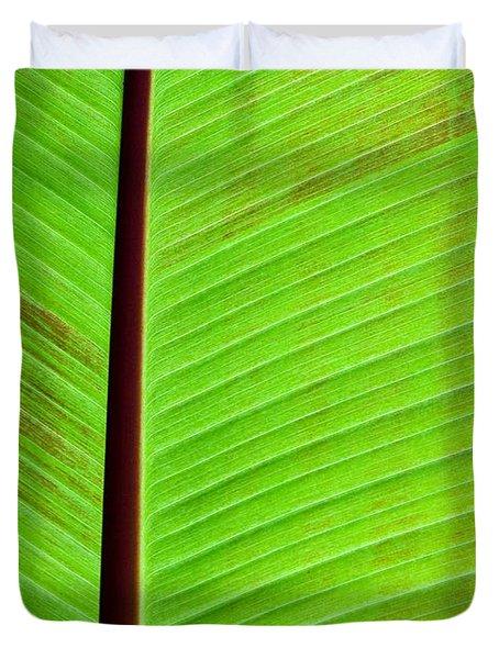 Green Lines Duvet Cover by Sabrina L Ryan