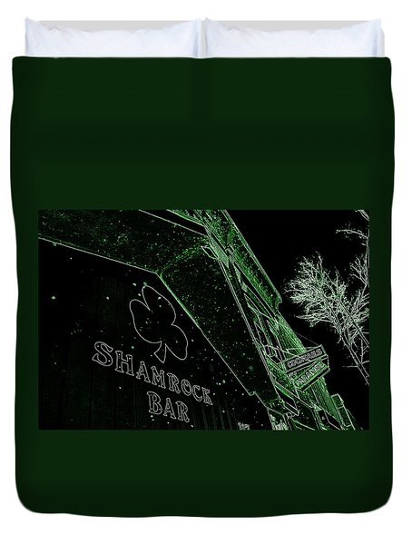 Duvet Cover featuring the photograph Green Night by Zafer Gurel